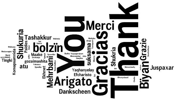 Thank you, merci, gracias, arigato