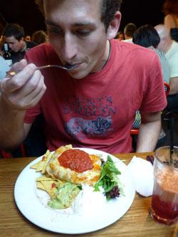 Eating at the Vegie Bar, Melbourne