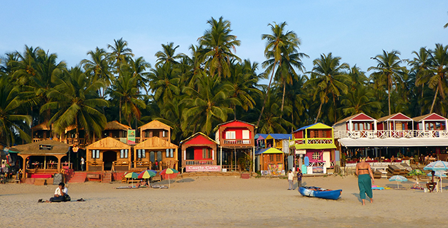 Beach Huts on Palolem Beach, Goa