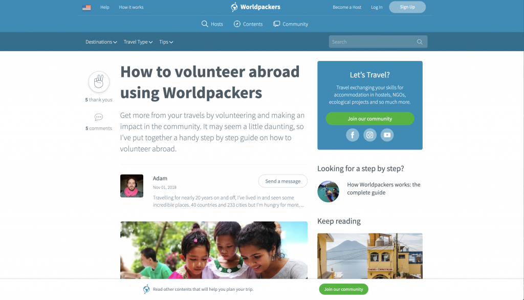 Volunteer with Worldpackers