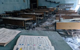 An abandoned classroom in Chernobyl exclusion zone.